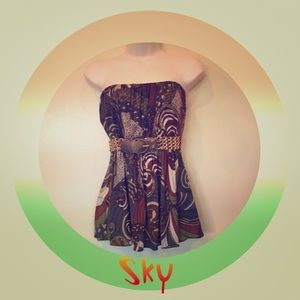 Sky strapless top size small